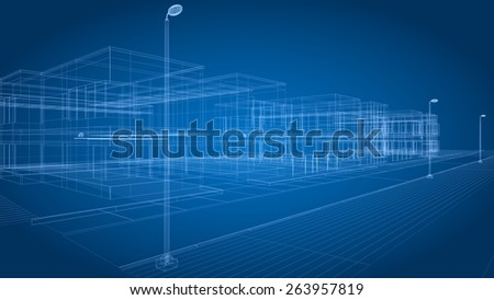 Blueprint. 3D. 3D architecture abstract - stock photo