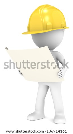 Blueprint. 3D little human character The Builder looking at a blueprint. Front view. People series. - stock photo