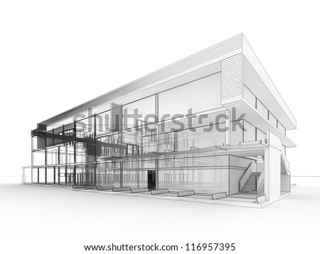 blueprint design of modern office building. architects and designers drawing. - stock photo
