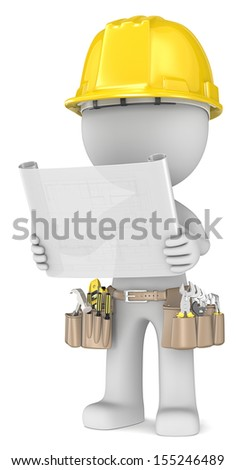 Blueprint. Dude the Builder holding a blueprint. Semi transparent. - stock photo