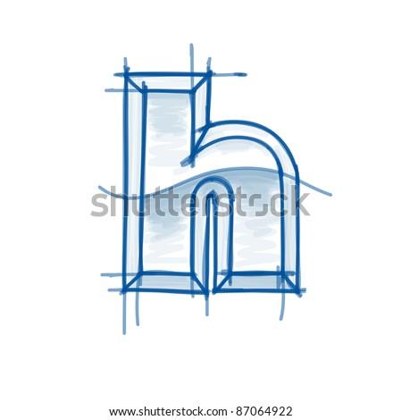 Blueprint font sketch letter h marker stock vector 86277790 blueprint font sketch letter h marker drawing bitmap copy my vector malvernweather Gallery