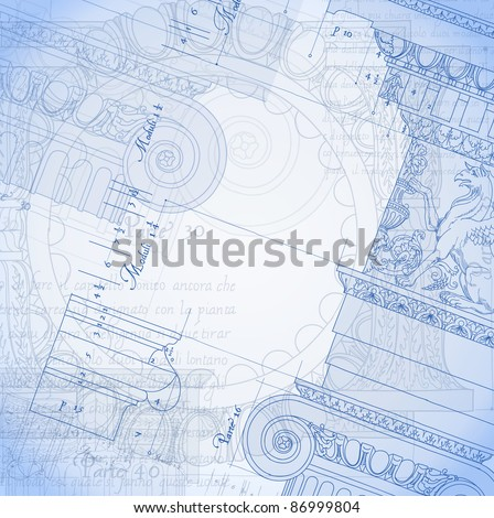 Blueprint. Hand draw sketch ionic architectural order. Bitmap copy my vector ID 84472297 - stock photo