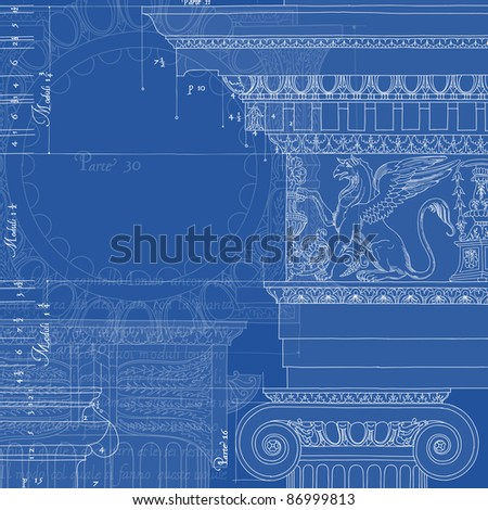 Blueprint. Hand draw sketch ionic architectural order. Bitmap copy my vector ID 84472288 - stock photo