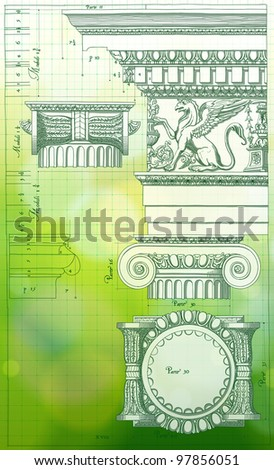 Blueprint - hand draw sketch ionic architectural order & green bokeh background. Bitmap copy my vector - stock photo