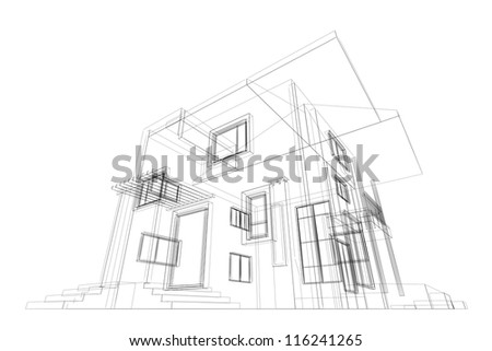Blueprint. High quality 3d render - stock photo