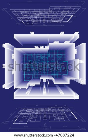Blueprint house family plan with 3D simulation. This file have additional cdr vector format - stock photo