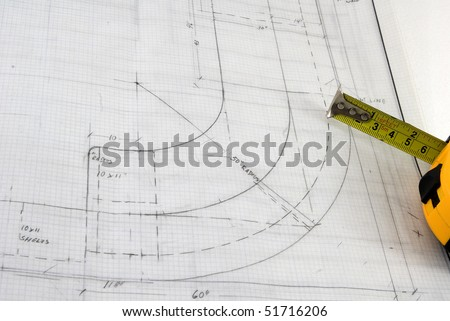 blueprint of a curved design - stock photo