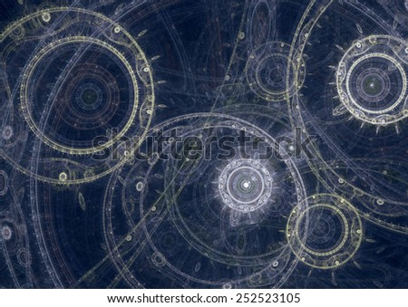 Blueprint of a fantasy steampunk  machine, abstract fractal design - stock photo