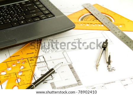 Blueprint of a house - stock photo