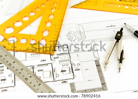Blueprint of a house - stock photo