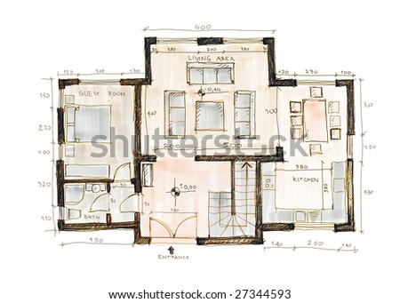 Blueprint of a house, sketch - stock photo