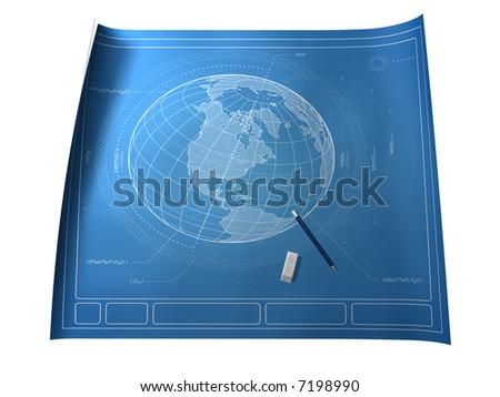 Blueprint of Earth Illustrating Intelligent Design - stock photo