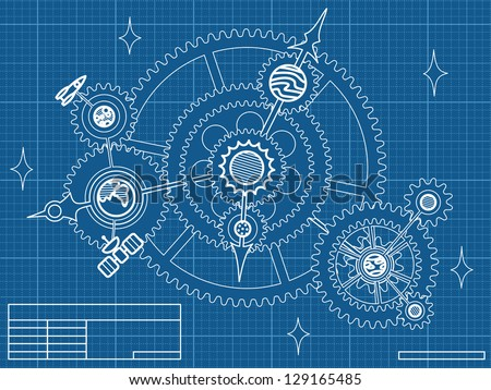blueprint of space mechanic - with planets, stars, gearwheels - raster version of vector file - stock photo
