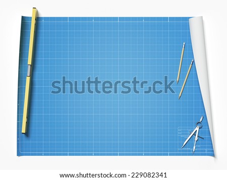 Blueprint on table - stock photo