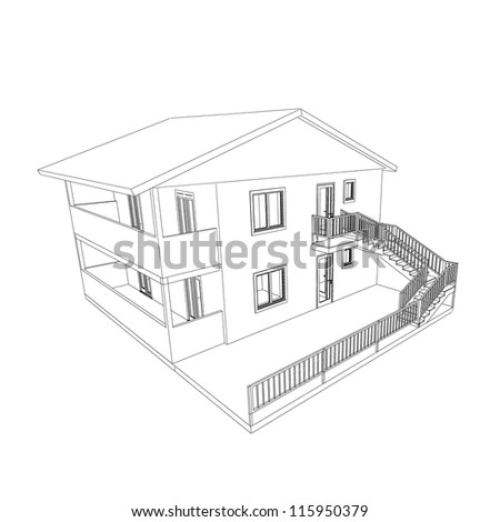 Blueprint on white - stock photo