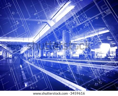 blueprint over building - stock photo