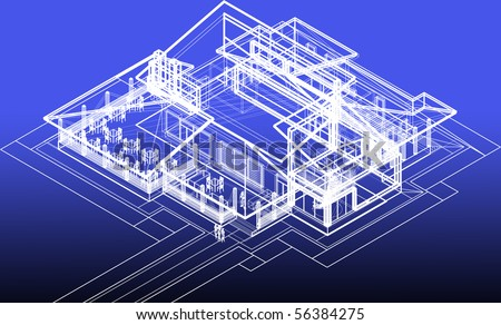 blueprint restaurant concept - stock photo