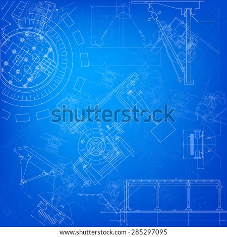 Blueprint scheme of different parts of machine - stock photo