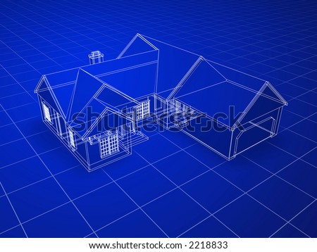 Blueprint style 3D rendered house. White lines on blue background.