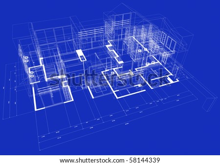 Blueprint style 3D rendered house with white outlines on blue background - stock photo
