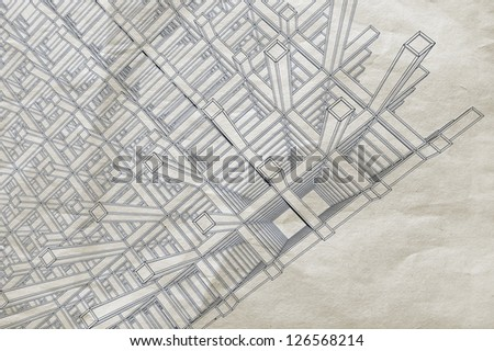 Blueprint perspective view abstract 3 d braced stock illustration blueprint with perspective view of an abstract 3d braced construction on old paper malvernweather Gallery