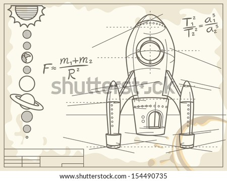 blueprint with spaceship and planets  - raster copy of vector file - stock photo