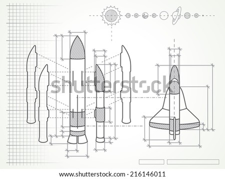 blueprint with spaceship scheme and planets - stock photo