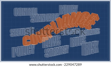 BLUEPRINTof policy, laws and compliance - stock photo