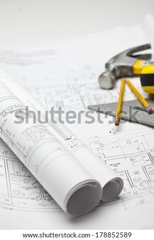 Blueprints - stock photo