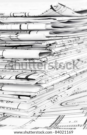 Blueprints - a stack of professional architectural drawings - stock photo