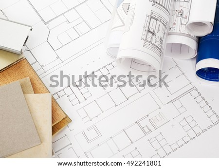 Blueprints and construction materials