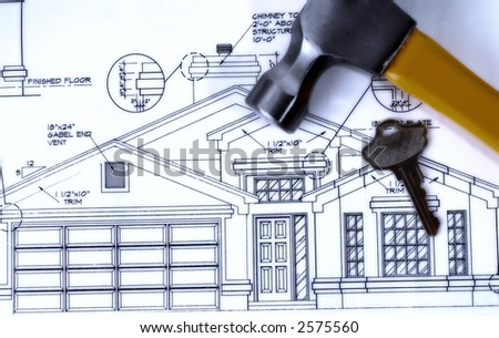 Blueprints for Our New Home - stock photo