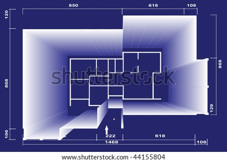 Blueprints house family plan illustration with 3D simulation. - stock photo