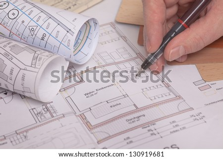 blueprints of a house. With drawing epuipe.Plans in German