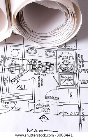Blueprints of Master Bath - stock photo