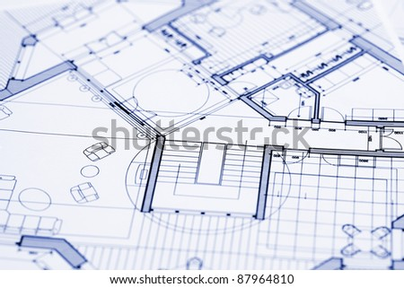 Blueprints - professional architectural drawings - stock photo
