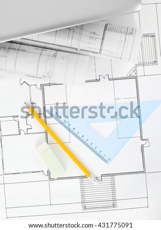 Blueprints project - stock photo