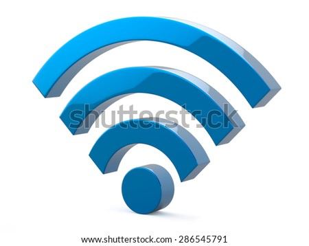 Bluer Metal Wi Fi Wireless Network Symbol Illustration - stock photo
