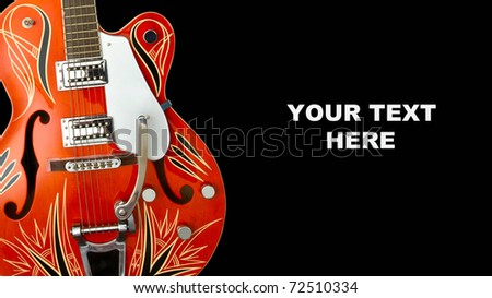 blues electric guitar detail on black background - stock photo