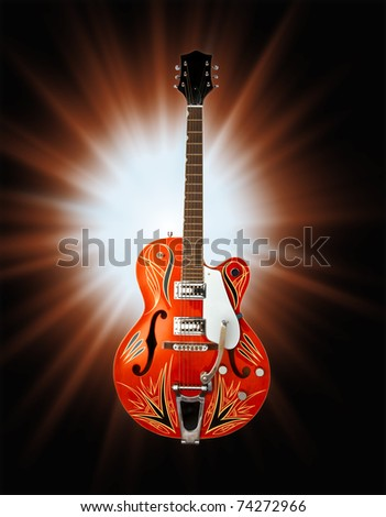 blues electric guitar with clipping path