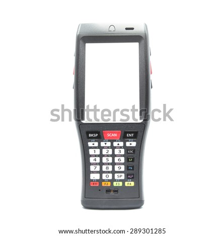 Bluetooth barcode scanner isolated on a white background for Supermarkets