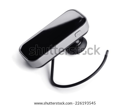 Bluetooth handsfree headset isolated on white - stock photo