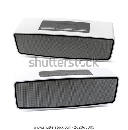 Bluetooth speaker on a white background - stock photo