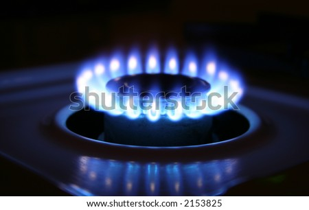 Bluish flames of a stove burner in total darkness illustrating combustion.