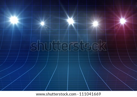 Blue Glowing Grid Curved 3d Stage Stock Illustration