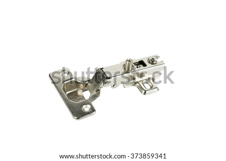 Blum concealed cabinet hinges isplated on white background. - stock photo
