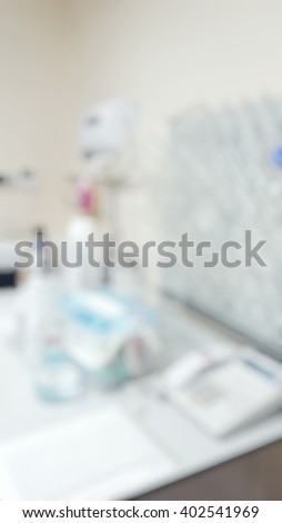 Blur abstract background white cleaning station for microbiology laboratory workstation office for research or education.Blurry clean flask glassware holder and equipment for scientific  testing. - stock photo