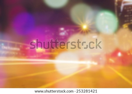 blur abstract bokeh of city night light background. - stock photo