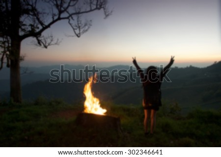 Blur at night camping background. - stock photo