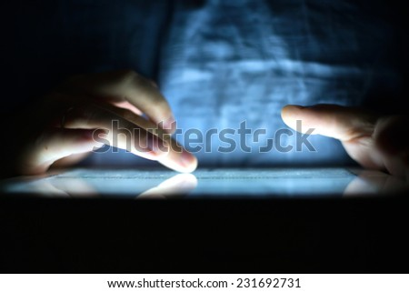 Blur atmospheric background of create music on tablet - stock photo